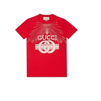 Gucci Red Crystal Print Shirt