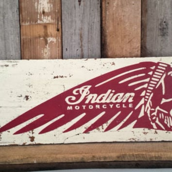 Indian Motorcycle Sign Wall Hanging Rustic Decor Garage Man Cave Shabby Chic Home Primitive Distressed Chippy Paint