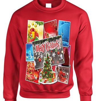 Adult Sweatshirt Christmas Postcards Holiday Graphic Gift Idea