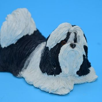 Sandicast Shih-Tzu Figurine Vintage Small Dog Sculpture Black and White Shih Tzu Collectible Dog Lover Gift Shih Tzu Gift for Her