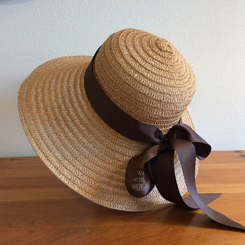 "Khaki Straw Sun Summer Wide Brim Foldable Hat with Handmade Bow of your choice - Brown, Peach, Pink/Aqua/Green Circles, or Black 20.5"" - 22"""