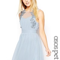 ASOS PETITE Exclusive Crochet Trim Chiffon Skater Dress - Pale blue