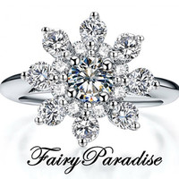 0.5 ct center stone, Snowflake Promise Ring, Right Hand Ring, Winter Jewelry, Christmas Ring, Holiday Jewelry with Gift Box
