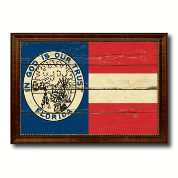 Civil War Florida Military Flag Vintage Canvas Print with Brown Picture Frame Gifts Ideas Home Decor Wall Art Decoration