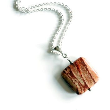 square fossilized coral bead pendant wire wrapped with solid sterling silver , handmade brown and orange wood grain gemstone jewelry