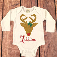 Personalized Glitter Reindeer bodysuit, Glitter Christmas Outfit, Christmas Baby,My First Christmas Outfit, Reindeer bodysuit,Monogram Shirt