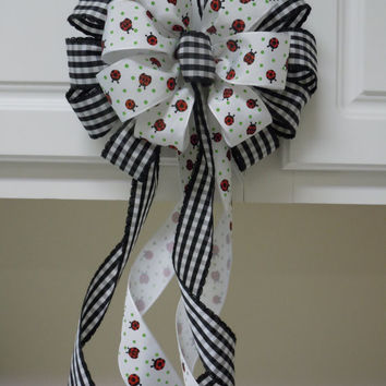Black White Wedding Pew Bow White Black Check Ladybug Wreath Bow Shower Birthday Gifts Bow Summer Party Decoration Bow