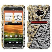 Asmyna HTCEVO4GLTEHPCDM191NP Dazzling Luxurious Bling Case for HTC EVO 4G LTE - 1 Pack - Retail Packaging - Gold/Silver