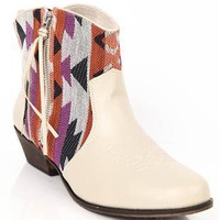 ankle western boot with aztec print and fringe accent - 1000052960 - debshops.com