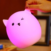 Colorful Pig Cartoon Gel USB LED Ombre Night Light