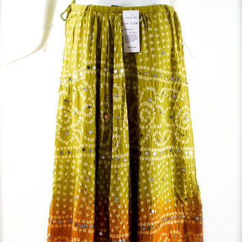 Deadstock ViNTagE: 1980's - ZASHI India Tie Dye Sequin Cotton Gauze Draw String Skirt - Hippie Gypsy Boho Festival - (23-00004926)