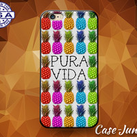 Pura Vida Costa Rican Quote Pure Life Pineapple Pattern Tumblr Case For iPhone 4 and 4s and iPhone 5 and 5s and 5c and iPhone 6 and 6 Plus +