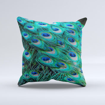 Neon Multiple Peacock  Ink-Fuzed Decorative Throw Pillow