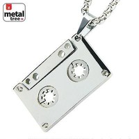 "Jewelry Kay style Men's Stainless Steel Cassette Tape Pendant 24"" Box Chain Necklace SCP 188 S"