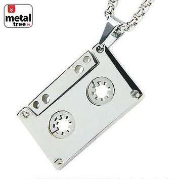 """Jewelry Kay style Men's Stainless Steel Cassette Tape Pendant 24"""" Box Chain Necklace SCP 188 S"""