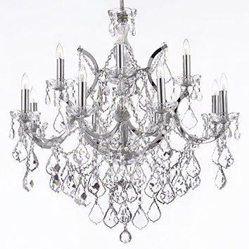 "Maria Theresa Chandelier Lighting Crystal Chandeliers H30 ""X W28"" Trimmed with Spectra (TM) Crystal - Reliable Crystal Quality By Swarovski® CHROME FINISH! - F83-B7/CHROME/2527/12+1SW"
