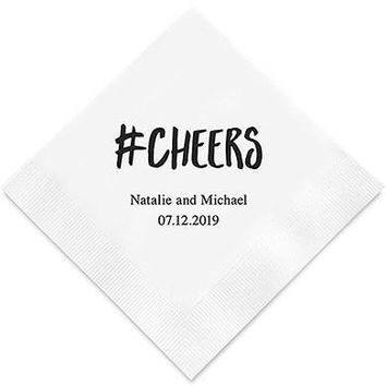 Hashtag Cheers Printed Paper Napkins (Sets of 80-100)