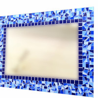 Large Blue Mosaic Wall Mirror