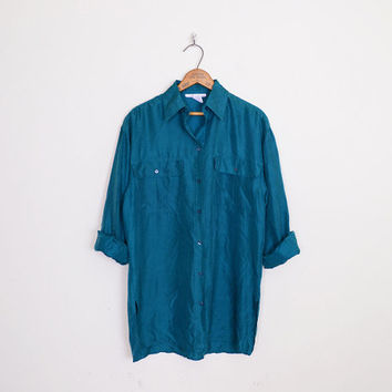 100% Silk Shirt Silk Blouse Oversize Shirt Teal Shirt Teal Blue Shirt 80s Shirt 90s Shirt 90s Grunge Shirt Blogger S Small M Medium L Large