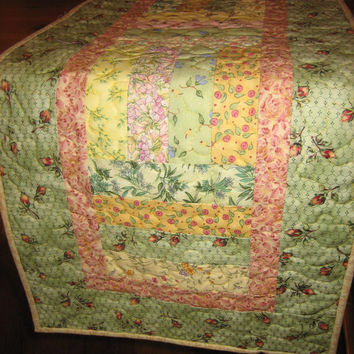 Quilted Table Runner, Spring Pastel Cottage Charm Shabby Pink Green Yellow Chic Handmade