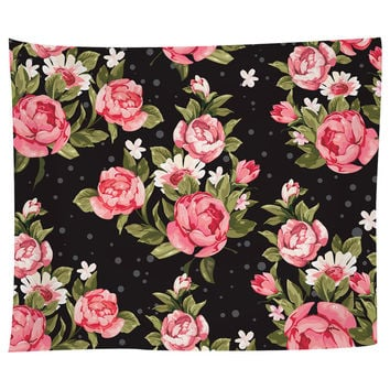 Roses on Black Tapestry