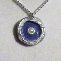 Silver and Blue Necklace, clay, circular, pearl, gray, pendant, round, shiny, gloss finished, glossy, ooak, unique, original, nice, gorgeous