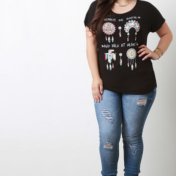 Native American Graphic Print Ruched Top