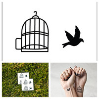 Bird in a Cage  temporary tattoo Set of 4 by Tattify on Etsy