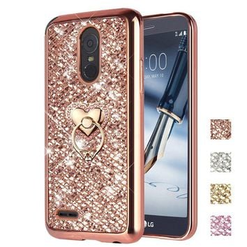 LG Stylo 3 Case, LG Stylo 3 Plus Case, ZHFLY Bling Glitter Sparkle Jelly Soft Silicone TPU Bumper Frame Stand Case With Metal Ring Holder Back Cover for LG Stylo 3 / Stylo 3 Plus, Rose Gold