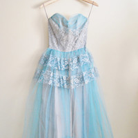 The Frost - Vintage 50s Blue Gold Tulle Purple Wedding Dress Wedding Bridal