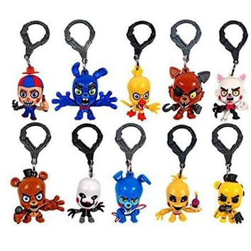 10Pcs/Set  At  Bobblehead key Chain Ring Freddy Doll Kids Action Toy Figures