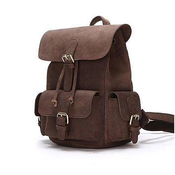 School Backpack Unisex Genuine crazy horse Leather backpacks Real leather travel bag Cowhide Laptop rucksack Vintage leather school bag AT_48_3