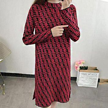 FENDI Autumn Winter New Popular Women Casual Long Sleeve Knit Dress Red