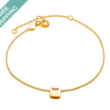 kiz&Co Gold Plated Sterling Silver Mini Square Bracelet
