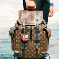 LV x Supreme Tide brand classic old flower checkerboard backpack