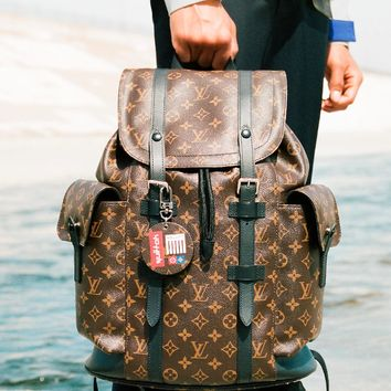Free shipping-LV x Supreme Tide brand classic old flower checkerboard backpack