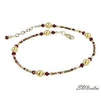 Ruby Gold Pearl Beaded Anklet