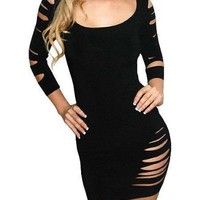 Sexy Cut Out Barracuda Quarter Sleeves Club Dress - Large - Black Reviews - save winkie Shop