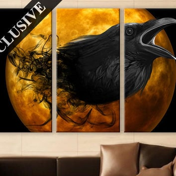 Large Wall Art Canvas Print 3 Panel Art Wall Hanging Crow Wall Art Photo on Canvas Wall Decor for Home & Office Large Wall Decoration