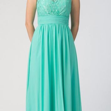 Mint Floor Length Formal Dress Lace Up Back Sleeveless