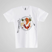 Screen Printed Poly-Cotton Short Sleeve T-ShirtWith Cheese Please-C. White