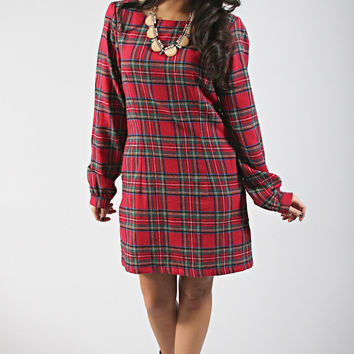 dayton k: noelle dress - red plaid