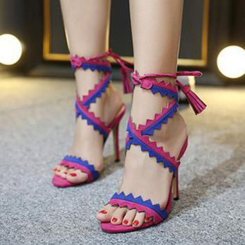 Summer Fashion Multicolor Hollow Tassel Crisscross Bandage Exposed Toe Sandals Women Heels Shoes-1