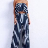 Ivana Striped Strapless Jumpsuit