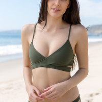 L*Space Swim - Chloe Wrap Top / Fern