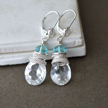 Unique Bridal Earrings with Blue Gems, Clear CZ Leverbacks, Sterling Silver Drop Earrings, Something Blue Bridal Glam