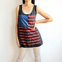 US American National Flag Shirt Tank Tops Stars and Stripes Black T-Shirts Women Tunic Tank Top Singlet Dress Size M