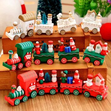 Christmas Decorations for Home 2017 Navidad Natal Ornaments Wooden Little Train Gifts for Children