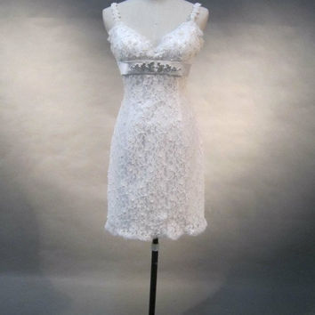 Lace Wedding Dress, Short Wedding Dress, Beaded Wedding Dress, Short Cute Wedding Dress, White Lace Wedding Dress with Straps