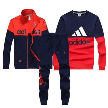 Adidas Women Men Top Sweater Pullover Cardigan Jacket Coat Pants Trousers Set Three-Piece